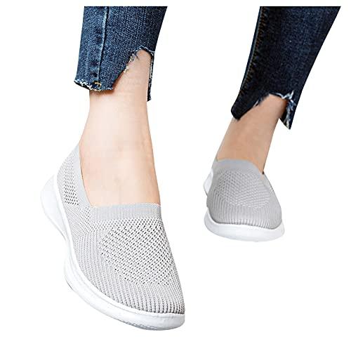 BAIYUEGUANG Damen Laufschuhe Turnschuhe Atmungsaktiv Slip On Sportschuhe Leichte Sneakers Outdoor Leichtgewichts Walkingschuhe Straßenlaufschuhe Freizeit Schuhe Grau 39