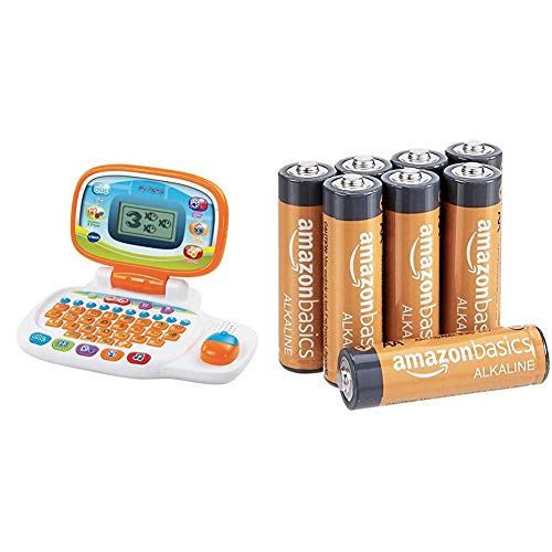 VTech 155403 Pre School Laptop Interactive Educational Kids Computer Toy with 30 Activities, White/Orange & AmazonBasics AA 1.5 Volt Performance Alkaline Batteries - Pack of 8 (Appearance may vary)