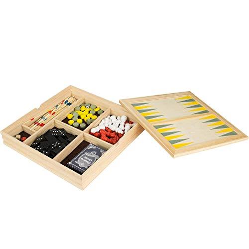 8 de Trèfle 38-2G-001 Coffret Jeux en bois 7 en 1 Backgammon