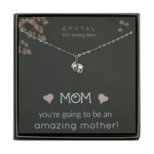 EFYTAL Baby Shower Gift, 925 Sterling Silver Tiny Baby Feet Necklace...