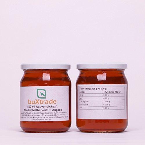 Agavendicksaft 500 ml / 0,5L - Agave Süßungsmittel Sirup Fructose Zucker Agavensirup VERSCHIEDENE GRÖßEN