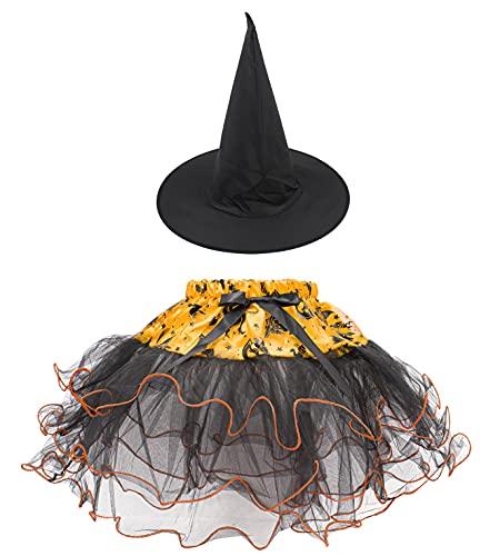 Falda Tutú para Mujer, Diadema o Sombrero en Diseño de Halloween, Disfraz para Cosplay de Fantasma Bruja Calavera (Modelo E)
