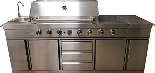 MCP Island Grills 3 in 1 Island 8 Zone BBQ Outdoor Electric Grill Kitchen, Propane or Natural Gas, with Sink, Side Burner, LED Lights on Knobs, and Free Protective Canvas Cover