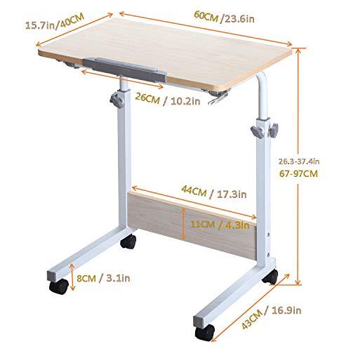 TTXP Stahlrohr Pc Bildschirm Höhenverstellbar mit Weißes MDF,Abschließbare Rollen, Höhenverstellbar, Drehbar,Laptopständer Höhenverstellbar für Bettsofa