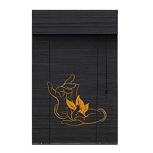 BCGT Cortina Bambu Interior/Exterior Instale La Persiana Enrollable De Bambú, El Filtro De Luz Enrolla Las Persianas con Cenefa Adecuado for Balcón, Corte, Casa De Té, Oficina, Pabellón Largo