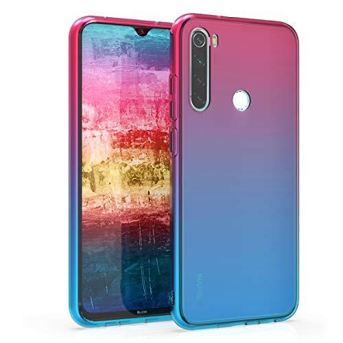 kwmobile Carcasa Protectora Compatible con Xiaomi Redmi Note 8 (2019/2021) - Funda Bicolor Rosa Fucsia/Azul/Transparente