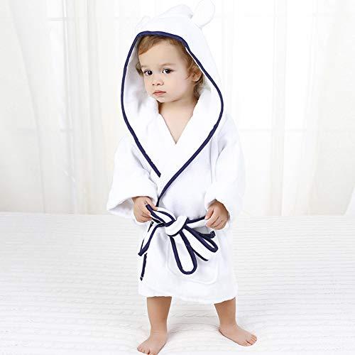 ZZUU Peignoir Enfant Garçon Et Fille, Mignon Animal Doux Peignoir en Coton Capuche - Super Câlin Et Moelleux, 100% Coton Towel Fabric,Blue,S