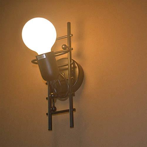Lámpara De Pared Retro Humanoide Linterna De Pared Interior Creativa Focos De Pared Vintage De Estilo Industrial Decoración Para Dormitorio, Sala De Estar, Escaleras, Pasillo, Restaurante,Negro