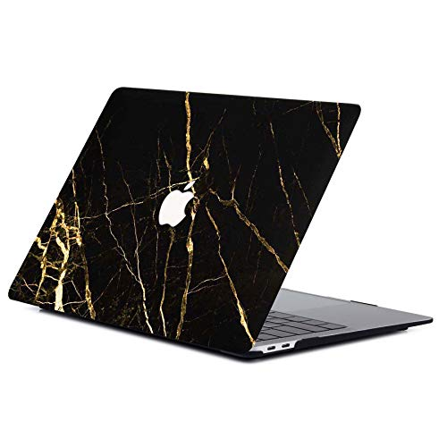 "ACJYX MacBook Air 13 Pouces Etui 2020 2019 2018 Version A1932 A2179 Coque De Protection en Plastique Ordinateur Portable Couverture Rigide pour Nouvelle Version MacBook Air 13"", Or Et Marbre Noir"
