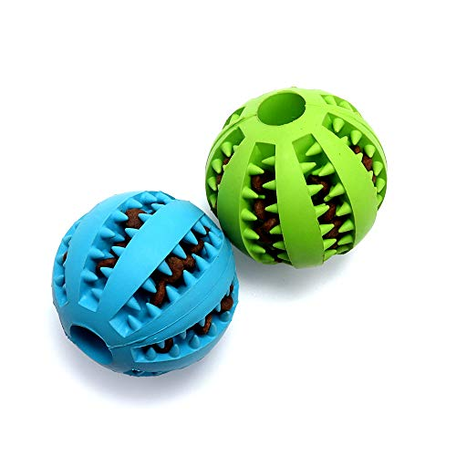 VECH Dog Chew Toys, Non-Toxic Rubber Dog Toy Ball for Pet Tooth Cleaning/Chewing/Playing, IQ Treat Ball for Medium and Large Dogs-Blue/Green (Blue+Green)