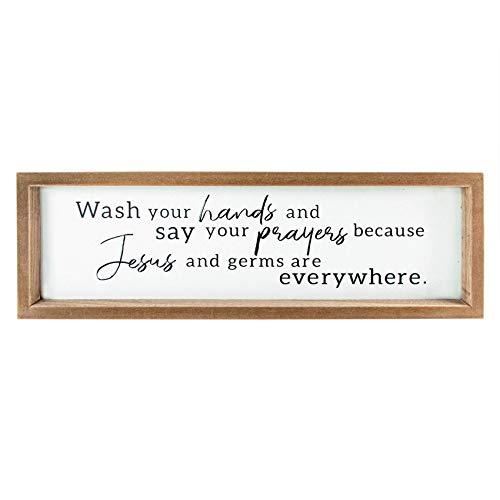 VILIGHT Rustikale Badezimmer-Wanddekoration – Waschen Sie Ihre Hände und sagen Sie Ihre Gebete, Schild Geschenk für Frauen und Männer – Holz Farmhouse Dekoration für Küche – 40,6 x 12,7 cm