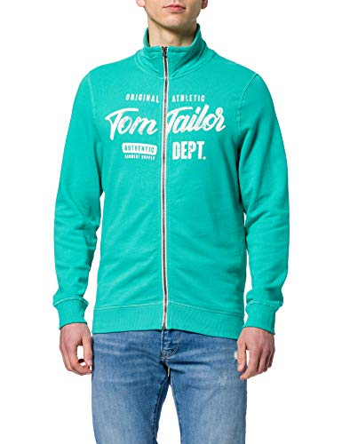 TOM TAILOR Herren 1024320 Logo Sweatjacke, 26179-Dusty Aqua, L