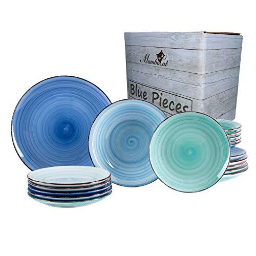 MamboCat 18-TLG. Blau Mix Tellerservice Mediterran Stil I je 6 Frühstücksteller Ø 18,5 cm, Speiseteller Ø 26 cm & Suppenteller Ø 20,5 cm I 6 Blautöne I Meer/Ozean Optik I Steingut