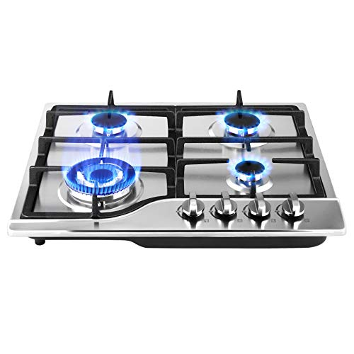 TOPQSC Gas Cooktop, Built-in Gas Stove with Anti-melt Metal Knob, 4 Burners 60 cm Stove Stainless Steel Pot, with Ffd and Enamel Pot Holder, Cast Iron Pot Holder