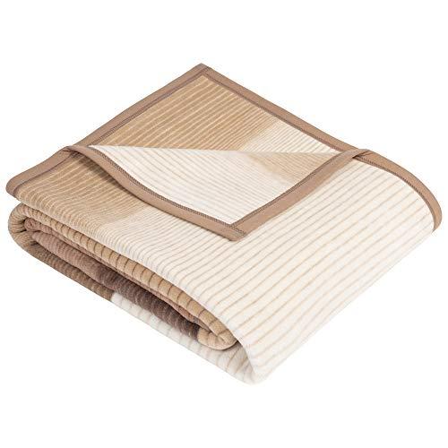 Ibena Granada Decke 150x200 cm – Kuscheldecke beige braun, pflegeleichte und kuschelweiche Baumwollmischdecke mit tollem Karomuster