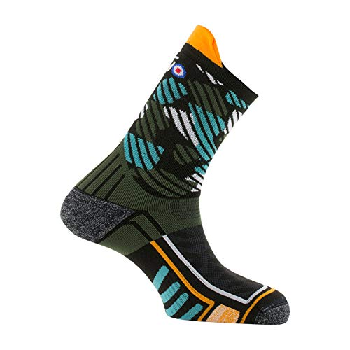 Thyo - Mi-chaussettes Trail made in France - couleur - Noir kaki - Pointure - 41-43