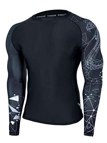 HUGE SPORTS Wildling Series UV Protection Quick Dry Compression Rash Guard(Lined Cobra,S)