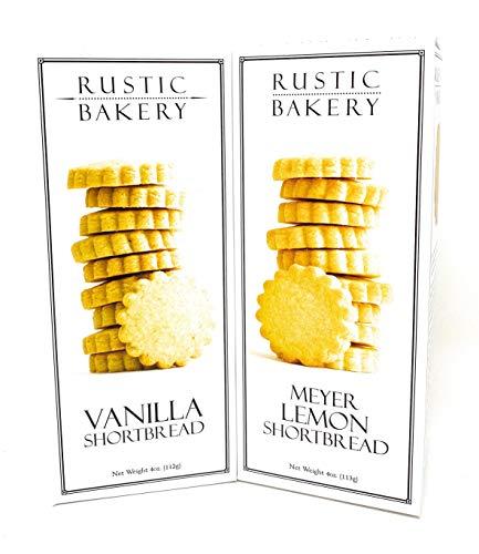Rustic Bakery Cookies Bread - Meyer Lemons Shortbread Cookies & Vanilla Short Bread - Low Sodium Thin Cookie Variety Bundle - 4oz- 2Pk