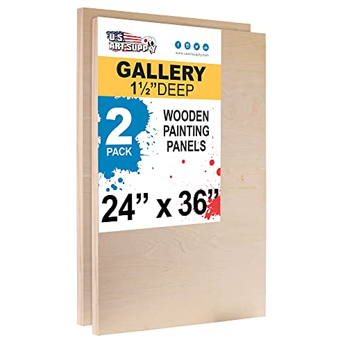 U.S. Art Supply 24' x 36' Birch Wood Paint Pouring Panel Boards, Gallery 1-1/2' Deep Cradle (Pack of 2) - Artist Depth Wooden Wall Canvases - Painting Mixed-Media Craft, Acrylic, Oil, Encaustic