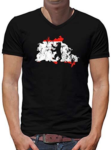 Camiseta para hombre con cuello en V, diseño de la capital de Berlín Negro XXXL