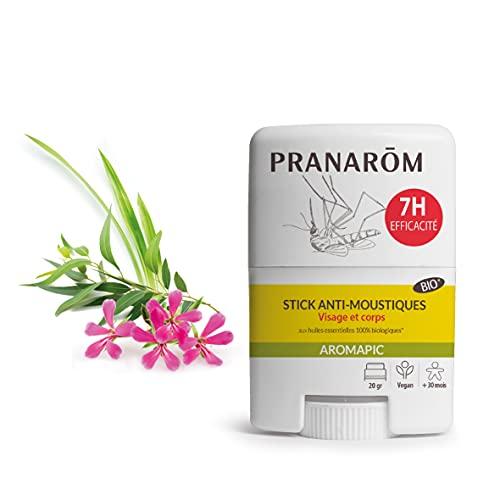 Pranarôm Anti-Moustiques Stick Bio aux Huiles Essentielles Biologiques Visage et Corps Efficacité 7 heures Aromapic 20 G