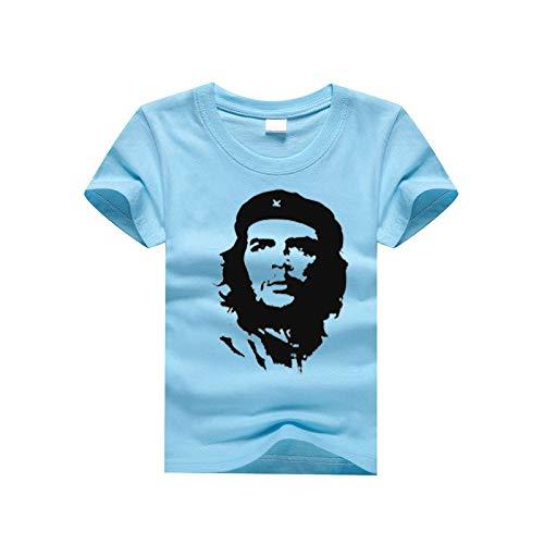 INSTO T-Shirt Che Guevara Gedruckt Kinder T Unterhemd Sportbekleidung Fitness Tragen Einfach Wild/Blau / 8#