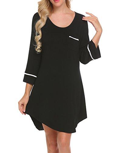 Balancora Damen Nachthemd Nachtkleid Pyjamas Kurz Sommer Tasche Nachtwäsche Schlafshirts Negligee Sleepshirt aus Baumwolle Nachthemden für Damen Schwarz