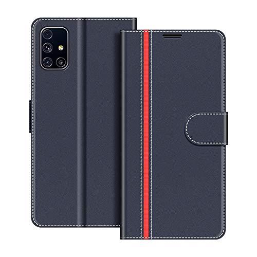 COODIO Handyhülle für Samsung Galaxy M31S Handy Hülle, Samsung Galaxy M31S Hülle Leder Handytasche für Samsung Galaxy M31S Klapphülle Tasche, Dunkel Blau/Rot