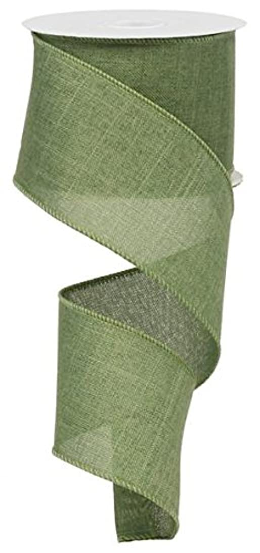 Solid Canvas Wired Edge Ribbon, 10 Yards (Clover Green, 2.5