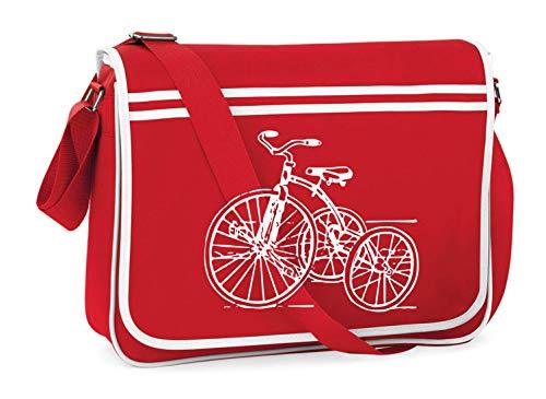 Druckerlebnis24 Bolso de hombro – Triciclo Año Retro Juguetes – Bolso bandolera adecuado para la escuela Uni portátil trabajo