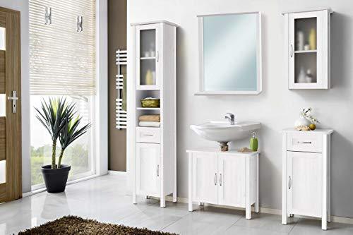 Galdem Garda Badmöbel-Set mit Spiegel Waschbeckenunterschrank Hochschrank Hängeschrank Seitenschrank Badezimmer Holz MDF Weiß