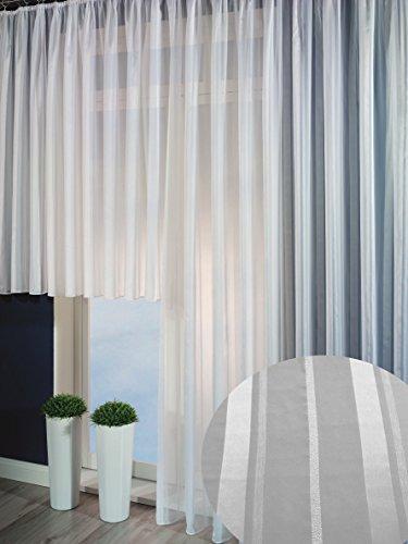 Clever-Kauf-24 Fertiggardine Fertigstore 5925 in weiß mit weißen Längststreifen Moderne Gardine in verschiedenen Größen (B x H 450 x 175cm)
