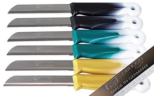 SMI 6 pcs – Paring Knife Set Solingen Vegetable Knife Serrated Fruit Kitchen Knife Flexible Multi Color Fixed Blade, Made in Solingen Germany