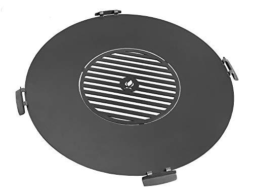 JS GartenDeko Grillplatte für Feuerschale Ø 82 cm mit Grillrost 40 cm und 4 Griffen Platte zum Grillen aus Stahl CookKing
