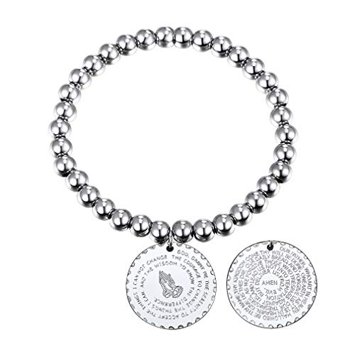 FaithHeart Edelstahl Silberne Farbe Perle armbänder Men's Armreif Basic rund anhänger Religiöse Person Platinum-Plated Länge: 15cm (+ 8cm)
