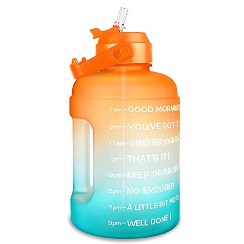 ZZDH Botella de Agua Deportiva 2.2L 73oz Botella de Agua Motivación con Paja A Prueba de Fugas BPA Deportes gratuitos Viaje de Viaje Jarra de Jarra de Jarra de Agua Adecuado para Fitness, Deportes al