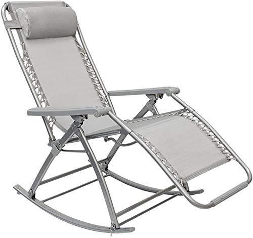 Jardín mecedora, con el reposapiés ajustable y respaldo reclinable sillas plegables para el gris de la ayuda terraza el peso máximo de 120 kg,Grey