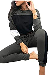 Yayun Womens Tracksuits 2 Piece Outfits Color Block Crop Top and Leggings Pants Set