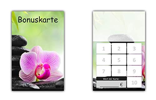 100 Stück Bonuskarten Wellness (BOK-416) mit 10 Stempelfeldern Neutrale Treuekarten Orchidee
