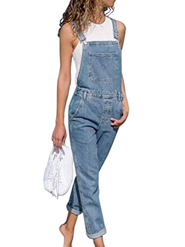 Onsoyours Donna Salopette Pantaloni Baggy Stampato Pantaloni Dungarees Gambe Grandi Denim Overall Jumpsuit con Tasche B Azzurro Large