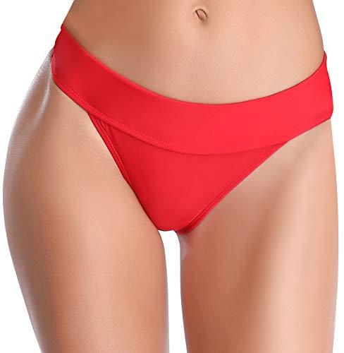 SHEKINI Damen Einfarbig Bikini Bottom Weibliche Badehose Brazilian Style Elastische Bikinihosen Bikini Slip Bikini Unterteile Bikini Shorts(S,Weiß B)