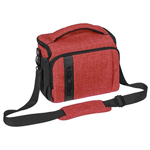 PEDEA DSLR-Kameratasche Fashion Fototasche für Spiegelreflexkameras mit wasserdichtem Regenschutz, Tragegurt und Zubehörfächern (Größe XL, rot)