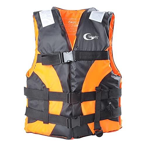 Yeah-hhi Chaleco Salvavidas para Adultos Chaleco De Ayuda De Alta Flotabilidad con Pegatinas Reflectantes para Kayak Natación De Pesca En Bote De Pesca,Naranja,One Size