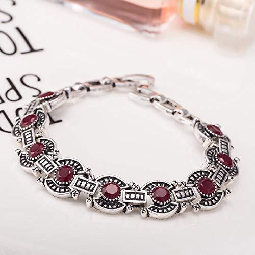 Zuiaidess Armbänder Für Damen,Vintage Persönlichkeit Armband Red Diamond Versilbert Farbe Neuheit Form Armbänder Für Mädchen Frauen Alltag Schmuck 18 cm