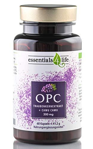 OPC Kapseln hochdosiert + Vitamin C aus Camu-Camu, 462 mg Traubenkernextrakt je Kapsel I Für Haare, Haut, Nägel, Nervensystem