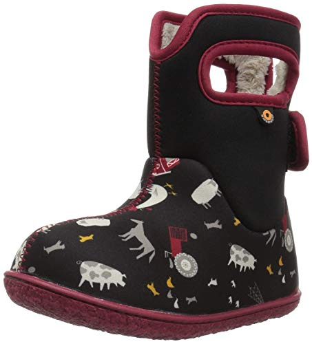 Bogs Baby Dino Snow Boot, Black/Multi, 4 M US Toddler