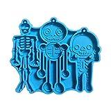 Pendientes de esqueleto de resina epoxi con forma de cráneo, llavero, molde de silicona para manualidades artesanales, joyas colgantes para moldear con resina