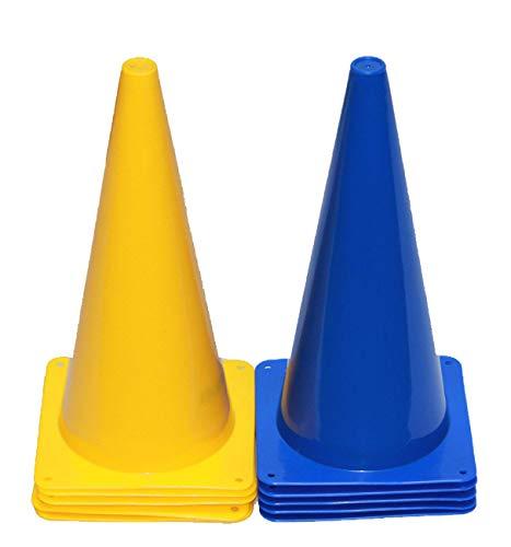 Boje Sport 10er Set Markierkegel, Pylonen, Pferdesport, Reitsport, Hundesport, Koordinationstraining, Ausdauertraining und Sprinttraining, 38 cm, Farbe 5 x blau/ 5 x gelb