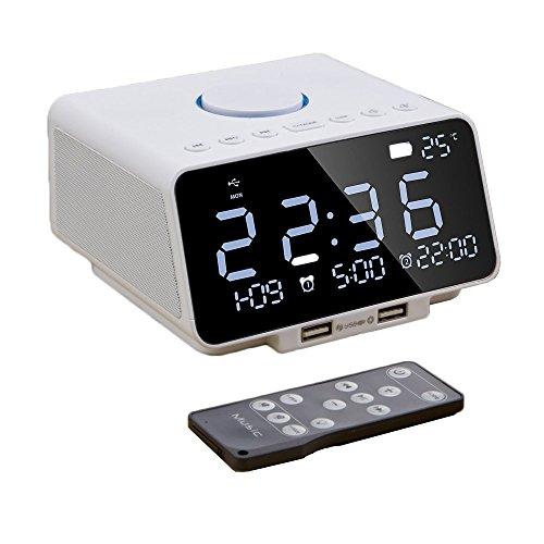 Digitale wekker, dual alarm met bluetooth-luidspreker, draadloze LED-luidspreker, 10 W audio-output van dual 5 W drivers, 5,5 inch grote LED-display met dimmer, datumweergave wit