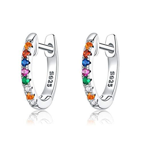 mengnuo Auténticos Pendientes de aro de círculo pequeño de 6 Colores de Plata de Ley 925 para Mujer, joyería Noble de Moda para Boda, regalo-FIE721